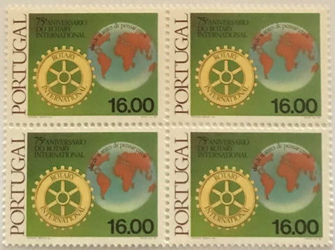 "Block of 4 mint never hinged old stamps of 11$00 - ""75. aniversário do Rotary Internacional"" - 75th. anniversary of the Rotary International - Portugal - 1980  Stamp 16$00 Afinsa 1456"