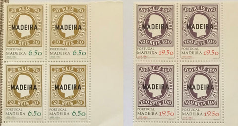 "Complete set of 2 blocks of 4 mint never hinged old stamps - ""Comemoração da primeira emissão de selos da Madeira"" - Commemoration of Madeira's first stamp issue - Portugal - 1980  Stamp   6$50 Afinsa 1454 Stamp 19$50 Afinsa 1455"