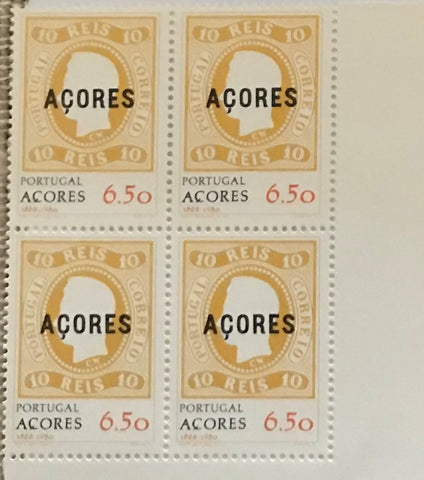 "Block of 4 mint never hinged old stamps of 6$50 - ""Comemoração da primeira emissão de selos dos Açores"" - Commemoration of Azores first stamp issue - Portugal - 1980  Stamp   6$50 Afinsa 1452"