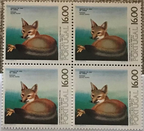 "Block of 4 mint never hinged old stamps of 16$00 - ""Campanha Europeia para a proteção des espécies e seus habitats"" - European campaign for the protection of species and their habitats - Portugal - 1980  Stamp 16$00 Afinsa 1467"