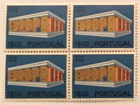 "Block of 4 mint never hinged old stamps of 1$00 - ""Europa CEPT"" - Europe CEPT - Portugal - 1969  Stamp 1$00 Afinsa 1041"
