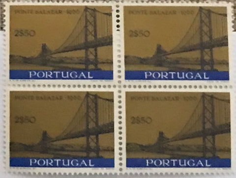 "Block of 4 mint never hinged old stamps of 2$50 - ""Inauguração da Ponte Salazar"" - Inauguration of the Salazar Bridge - Portugal - 1966  Stamp 2$50 Afinsa 980"