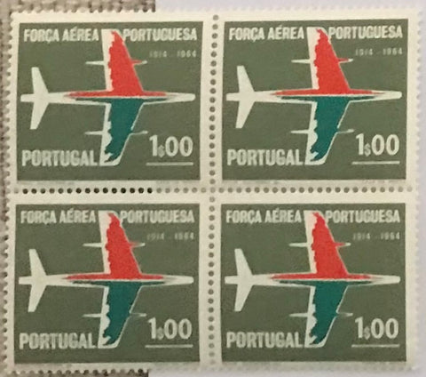 "Block of 4 mint never hinged old stamps of 1$00 - ""50. aniversário da Força Aérea Portuguesa"" - 50th. anniversary of the Portuguese Air Force - Portugal - 1965  Stamp 1$00 Afinsa 964"