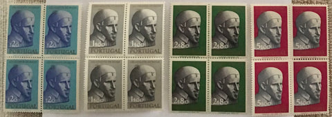 "Complete set of 4 blocks of 4 mint never hinged old stamps - ""3. centenário da morte de S. Vicente de Paulo"" - 3rd. centenary of the death of Saint Vincent de Paul - Portugal - 1963  Stamp   $20 Afinsa 912 Stamp 1$00 Afinsa 913 Stamp 2$80 Afinsa 914 Stamp 5$00 Afinsa 915"