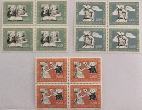 "Set of 3 blocks of 4 mint never hinged old stamps - ""X. congresso internacional de pediatria"" - X th. International Congress of Pediatrics - Portugal - 1962  Stamp   $50 Afinsa 894 Stamp 1$00 Afinsa 895 Stamp 2$80 Afinsa 896"