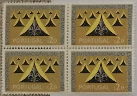 "Complete set of 6 blocks of 4 mint never hinged old stamps - ""18. conferência internacional do escutismo"" - 18th. international scouting conference - Portugal - 1962  Stamp   $20 Afinsa 888 Stamp   $50 Afinsa 889 Stamp 1$00 Afinsa 890 Stamp 2$50 Afinsa 891 Stamp 3$50 Afinsa 892 Stamp 6$50 Afinsa 893"