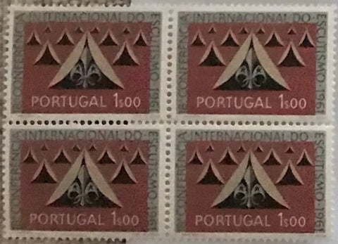 "Block of 4 mint never hinged old stamps of 1$00 - ""18. conferência internacional do escutismo"" - 18th. international scouting conference - Portugal - 1962  Stamp 1$00 Afinsa 890"