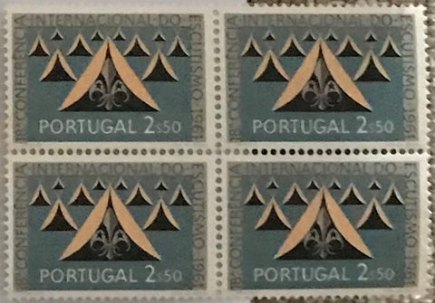 "Block of 4 mint never hinged old stamps of 2$50 - ""18. conferência internacional do escutismo"" - 18th. international scouting conference - Portugal - 1962  Stamp 2$50 Afinsa 891"