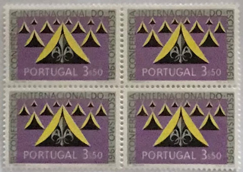 "Block of 4 mint never hinged old stamps of 3$50 - ""18. conferência internacional do escutismo"" - 18th. international scouting conference - Portugal - 1962  Stamp 3$50 Afinsa 892"