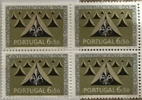 "Block of 4 mint never hinged old stamps of 6$50 - ""18. conferência internacional do escutismo"" - 18th. international scouting conference - Portugal - 1962  Stamp 6$50 Afinsa 893"