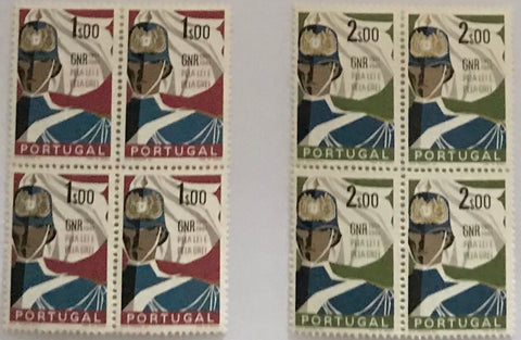 "Complete set of 2 blocks of 4 mint never hinged old stamps - ""Cinquentenário da GNR - Guarda Nacional Republicana"" - 50th anniversary of the GNR - National Republican Guard - Portugal - 1962  Stamp 1$00 Afinsa 883 Stamp 2$00 Afinsa 884"