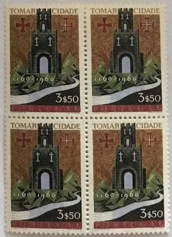 "Block of 4 mint never hinged old stamps of 3$50 - ""8. centenário da cidade de Tomar"" - 8th. centenary of the city of Tomar - Portugal - 1962  Stamp 3$50 Afinsa 882"