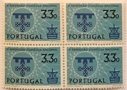 "Block of 4 mint never hinged old stamps of 3$30 - ""V. Exposição Filatélica Nacional"" - 5th. National Philatelic Exhibition - Portugal - 1960  Stamp 3$30 Afinsa 872"