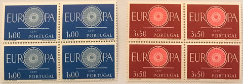 "Complete set of 2 blocks of 4 mint never hinged old stamps - ""Europa CEPT"" - Europe CEPT - Portugal - 1960  Stamp 1$00 Afinsa 869 Stamp 3$50 Afinsa 870"