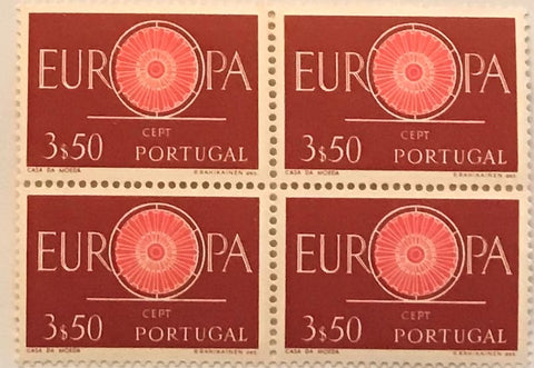 "Block of 4 mint never hinged old stamps of 3$50 - ""Europa CEPT"" - Europe CEPT - Portugal - 1960  Stamp 3$50 Afinsa 870"