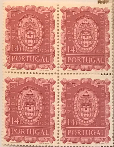 "Block of 4 mint never hinged old stamps of 1$40 - ""4. centenário da fundação da Universidade de Évora"" - 4th. centenary of the foundation of the University of Évora - Portugal - 1960  Stamp 1$40 Afinsa 860"