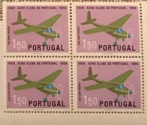 "Block of 4 mint never hinged old stamps of 1$50 - ""Cinquentenário do Aero Clube de Portugal"" - 50th anniversary of the Aero Clube de Portugal - Portugal - 1960  Stamp 1$50 Afinsa 855"