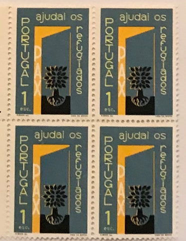 "Block of 4 mint never hinged old stamps of 1$00 - ""Ano Mundial dos Refugiados - ajudai os refugiados"" - Refugees World Year - help the refugees - Portugal - 1960  Stamp 1$00 Afinsa 852"