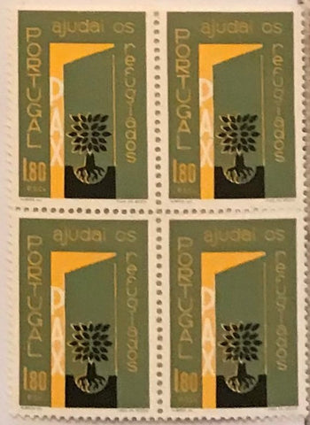 "Block of 4 mint never hinged old stamps of 1$80 - ""Ano Mundial dos Refugiados - ajudai os refugiados"" - Refugees World Year - help the refugees - Portugal - 1960  Stamp 1$80 Afinsa 852"