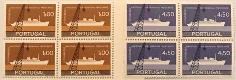 "Complete set of 2 blocks of 4 mint never hinged old stamps - ""II. Congresso Nacional da Marinha Mercante"" - II nd. National Congress of the Merchant Navy - Portugal - 1958  Stamp 1$00 Afinsa 841 Stamp 4$50 Afinsa 842"