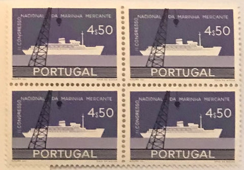 "Block of 4 mint never hinged old stamps of 4$50 - ""II. Congresso Nacional da Marinha Mercante"" - II nd. National Congress of the Merchant Navy - Portugal - 1958  Stamp 4$50 Afinsa 842"