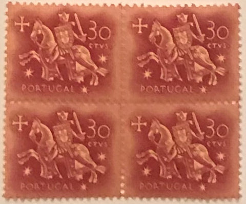 "Block of 4 mint never hinged old stamps of $30 - ""Rei D. Dinis"" - King D. Dinis - Portugal - 1955  Stamp $30 Afinsa 818"