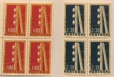 "Set of 2 blocks of 4 mint never hinged old stamps - ""Centenário do telégrafo eléctrico em Portugal"" - Centenary of the electric telegraph in Portugal - Portugal - 1955  Stamp 1$00 Afinsa 815 Stamp 2$30 Afinsa 816"
