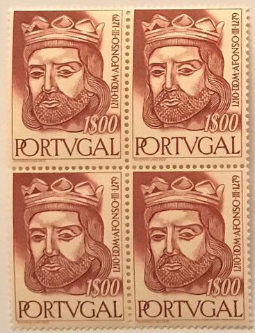 "Block of 4 mint never hinged old stamps of 1$00 - ""Reis de Portugal da 1. Dinastia - Dom Afonso III"" - Kings of Portugal of the 1st Dynasty - Dom Afonso III - Portugal - 1955  Stamp 1$00 Afinsa 810"