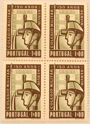 "Block of 4 mint never hinged old stamps of $50 - ""150 anos do Colégio Militar - servir"" - 150 years of the Military College - serving- Portugal - 1954  Stamp 1$00 Afinsa 800"