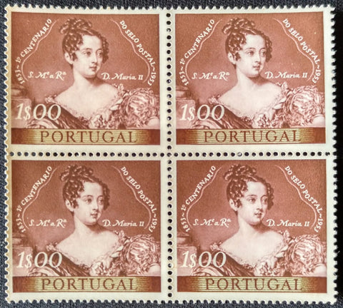 "Block of 4 mint never hinged old stamps of 1$00 - ""1. centenário do selo postal Português"" - 1st. centenary of the Portuguese postage stamp - Portugal - 1953  Stamp 1$00 Afinsa 787"