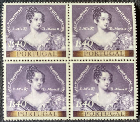 "Block of 4 mint never hinged old stamps of 1$40 - ""1. centenário do selo postal Português"" - 1st. centenary of the Portuguese postage stamp - Portugal - 1953  Stamp 1$40 Afinsa 788"