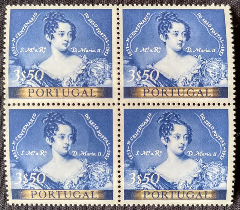 "Block of 4 mint never hinged old stamps of 3$50 - ""1. centenário do selo postal Português"" - 1st. centenary of the Portuguese postage stamp - Portugal - 1953  Stamp 3$50 Afinsa 790"