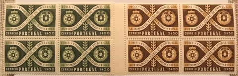 "Complete set of 2 blocks of 4 mint never hinged old stamps - ""Cinquentenário do Automóvel Clube de Portugal"" - 50th anniversary of the Automobile Club of Portugal - Portugal - 1953  Stamp 1$00 Afinsa 782 Stamp 3$50 Afinsa 783"