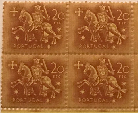 "Block of 4 mint never hinged old stamps of 20$00 - ""Rei D. Dinis"" - King D. Dinis - Portugal - 1953  Stamp 20$00 Afinsa 776"