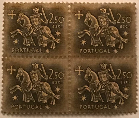 "Block of 4 mint never hinged old stamps of 2$50 - ""Rei D. Dinis"" - King D. Dinis - Portugal - 1953  Stamp 2$50 Afinsa 773"