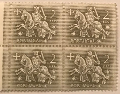 "Block of 4 mint never hinged old stamps of 2$00 - ""Rei D. Dinis"" - King D. Dinis - Portugal - 1953  Stamp 2$00 Afinsa 771"