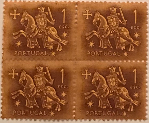 "Block of 4 mint never hinged old stamps of 1$00 - ""Rei D. Dinis"" - King D. Dinis - Portugal - 1953  Stamp 1$00 Afinsa 768"