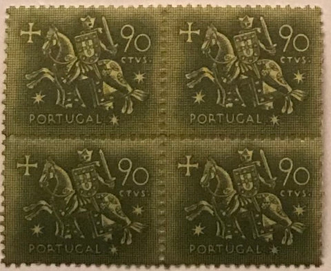 "Block of 4 mint never hinged old stamps of 0$90 - ""Rei D. Dinis"" - King D. Dinis - Portugal - 1953"