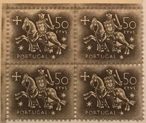 "Block of 4 mint never hinged old stamps of 0$50 - ""Rei D. Dinis"" - King D. Dinis - Portugal - 1953  Stamp 0$50 Afinsa 766"