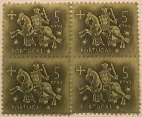 "Block of 4 mint never hinged old stamps of 0$05 - ""Rei D. Dinis"" - King D. Dinis - Portugal - 1953  Stamp 0$05 Afinsa 763"