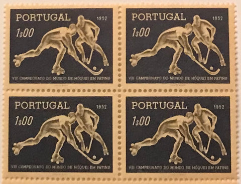 "Block of 4 mint never hinged old stamps of 1$00 - ""VIII. Campeonato Mundial de Hóquei em Patins"" - VIII. Roller Hockey World Championship - Portugal - 1952  Stamp 1$00 Afinsa 751"