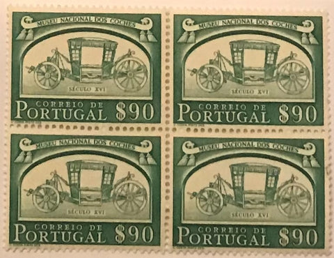 "Blocks of 4 mint never hinged old stamps of $90 - ""Museu Nacional dos Coches"" - National Carriage Museum - Portugal - 1952  Stamp   $90 Afinsa 744"
