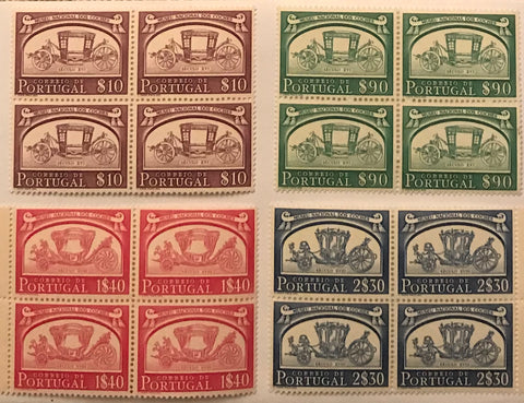 "Set of 4 blocks of 4 mint never hinged old stamps - ""Museu Nacional dos Coches"" - National Carriage Museum - Portugal - 1952  Stamp   $10 Afinsa 741 Stamp   $90 Afinsa 744 Stamp 1$40 Afinsa 746 Stamp 2$30 Afinsa 748"