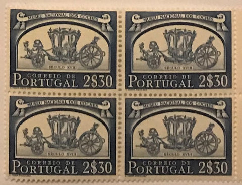 "Block of 4 mint never hinged old stamps of 2$30 - ""Museu Nacional dos Coches"" - National Carriage Museum - Portugal - 1952  Stamp 2$30 Afinsa 748"