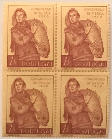 "Block of 4 mint never hinged old stamps of 1$00 - ""3. congresso nacional de pesca"" - 3rd. national fisheries congress - Portugal - 1951  Stamp 1$00 Afinsa 732"