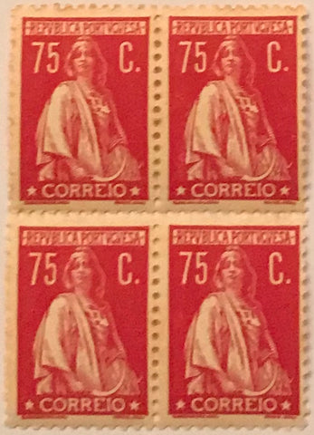 "Block of 4 mint never hinged old stamps of 75 c - ""CERES"" - Portugal - 1930  Stamp 75 c  Afinsa 506"