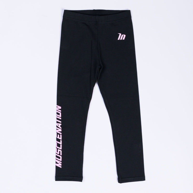 KIDS MN LEGGINGS - BLACK WITH PINK