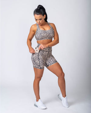 POCKET BIKE SHORTS - YELLOW LEOPARD