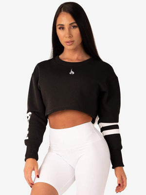 RYDERWEAR | RESORT CROPPED SWEATER - BLACK