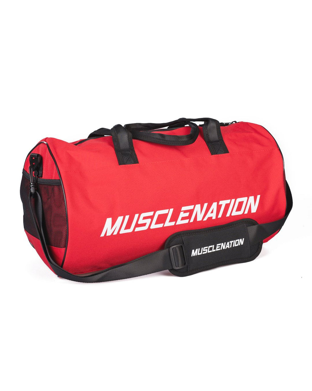 ROUND PREMIUM GYM BAG - RED (WHITE LOGO)